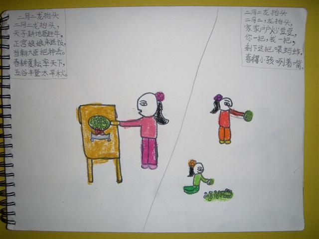 孩子们用自己的笔画出对儿歌《二月二龙抬头》的理解.很多画面真是